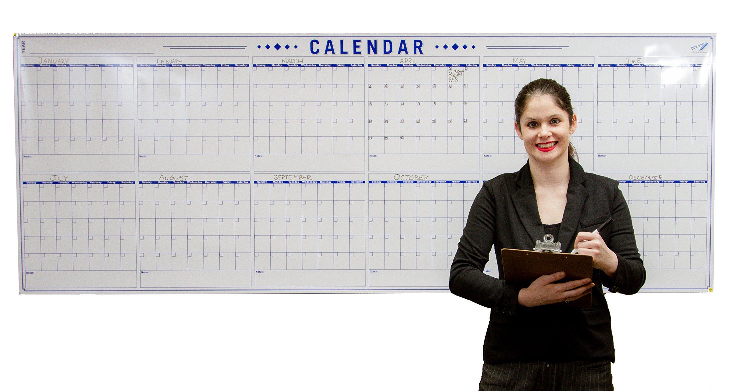 Jumbo 36 x 96 inch Blank Yearly Wall Calendar - Big Laminated Calendar Poster - 12 Month Planner - Erasable - Reusable - Giant Wet Erase Calendar - Annual Planning - Large Dry Erase Calendar by Oversize Planner by ABI Digital Solutions