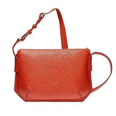 VOi Umhängetasche 21859 Leder Damen Satteltasche Crossover Bag elegante Schultertasche genarbtes Leder in Cayenne Voi DU29Y