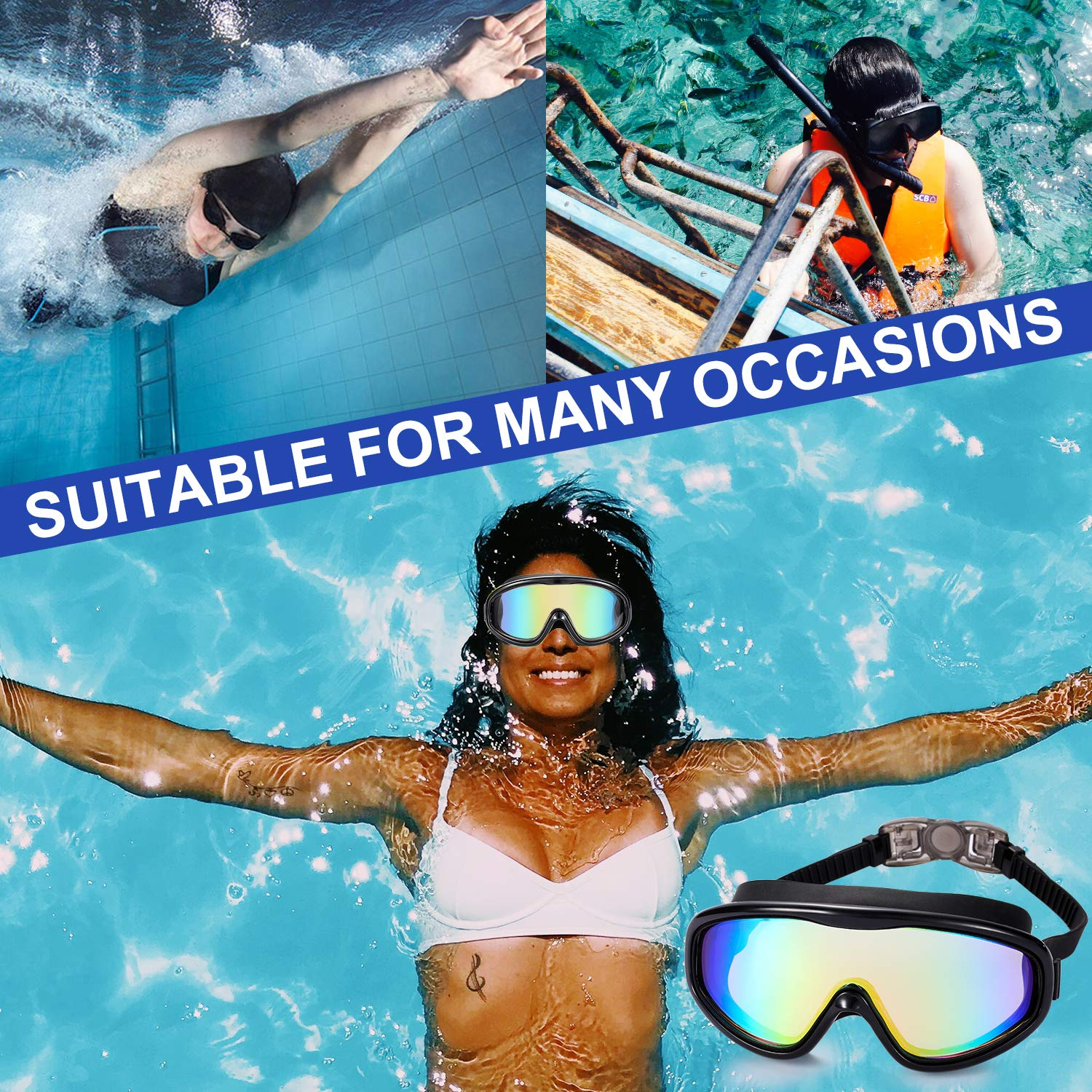 No Leaking Anti Fog UV 400 Protection Waterproof 180 Degree Wide Clear Vision Triathlon Pool Kabuda 2 Pack Swim Goggles Set of 2 Swimming Glasses for Adult Men Women Youth