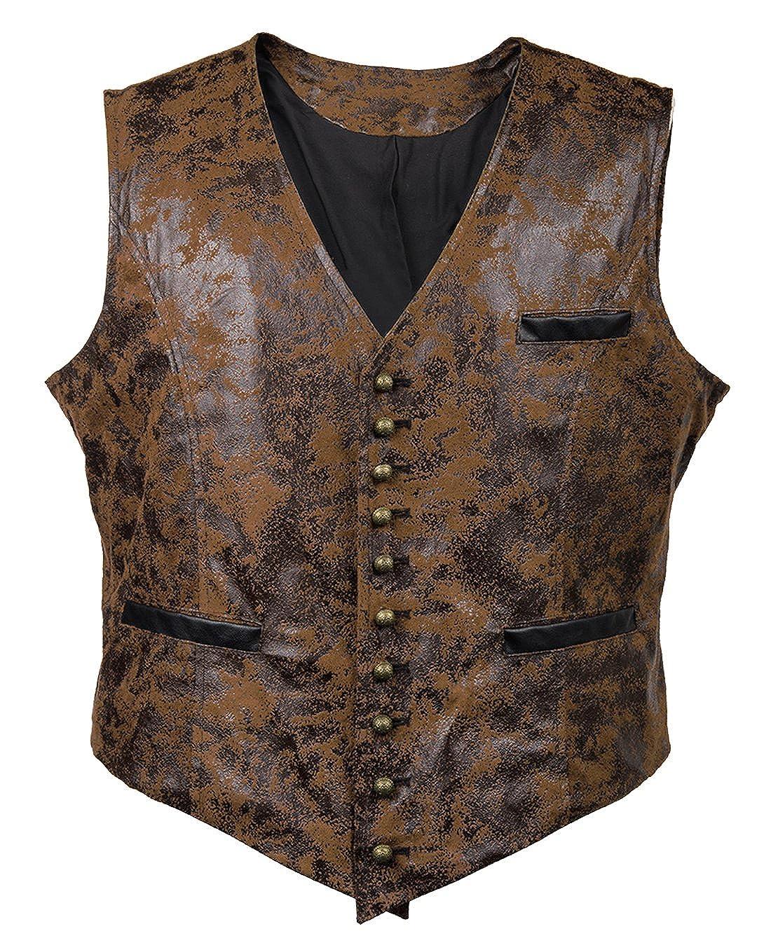 Men's Steampunk Vests, Waistcoats, Corsets Bslingerie Mens Steampunk Faux Leather Cowboy Waist Coat Vest $31.99 AT vintagedancer.com