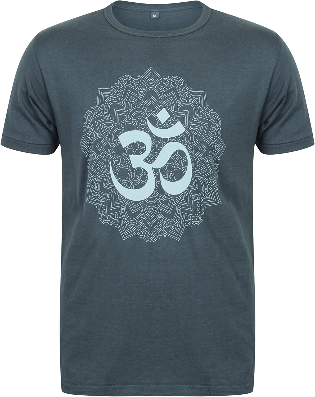 Born Peaceful Mens Yoga Bamboo T-Shirt with Om Mandala Design Denim Blue