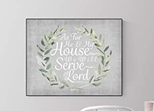 As for Me and My House, We Will Serve The Lord   Christian Decor   Christian Wall Art   Joshua 1:9   Housewarming Gift   Scripture Artwork   Gray (8x10)