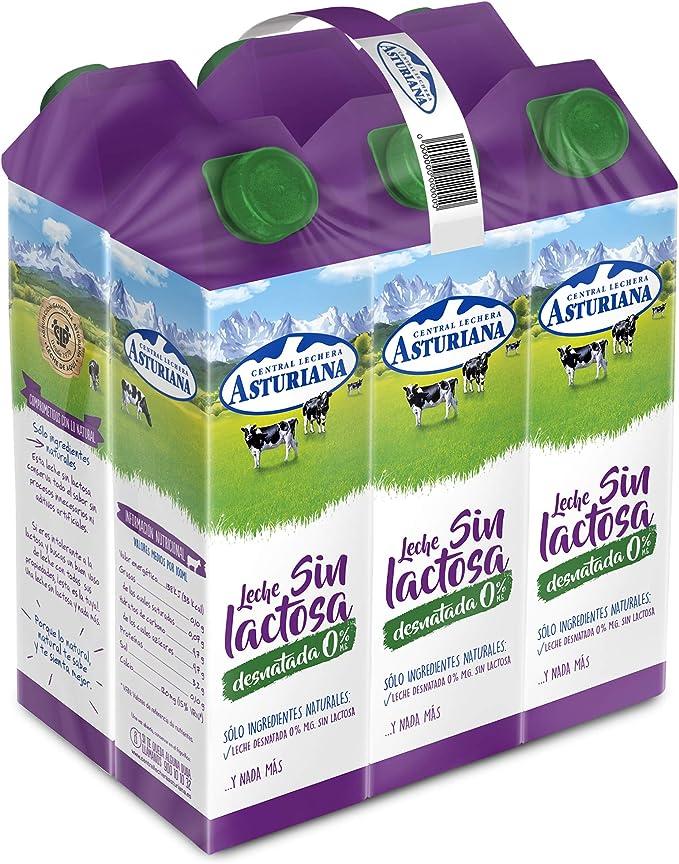 Central Lechera Asturiana - Leche sin lactosa desnatada 0% materia grasa 1L: Amazon.es: Alimentación y bebidas