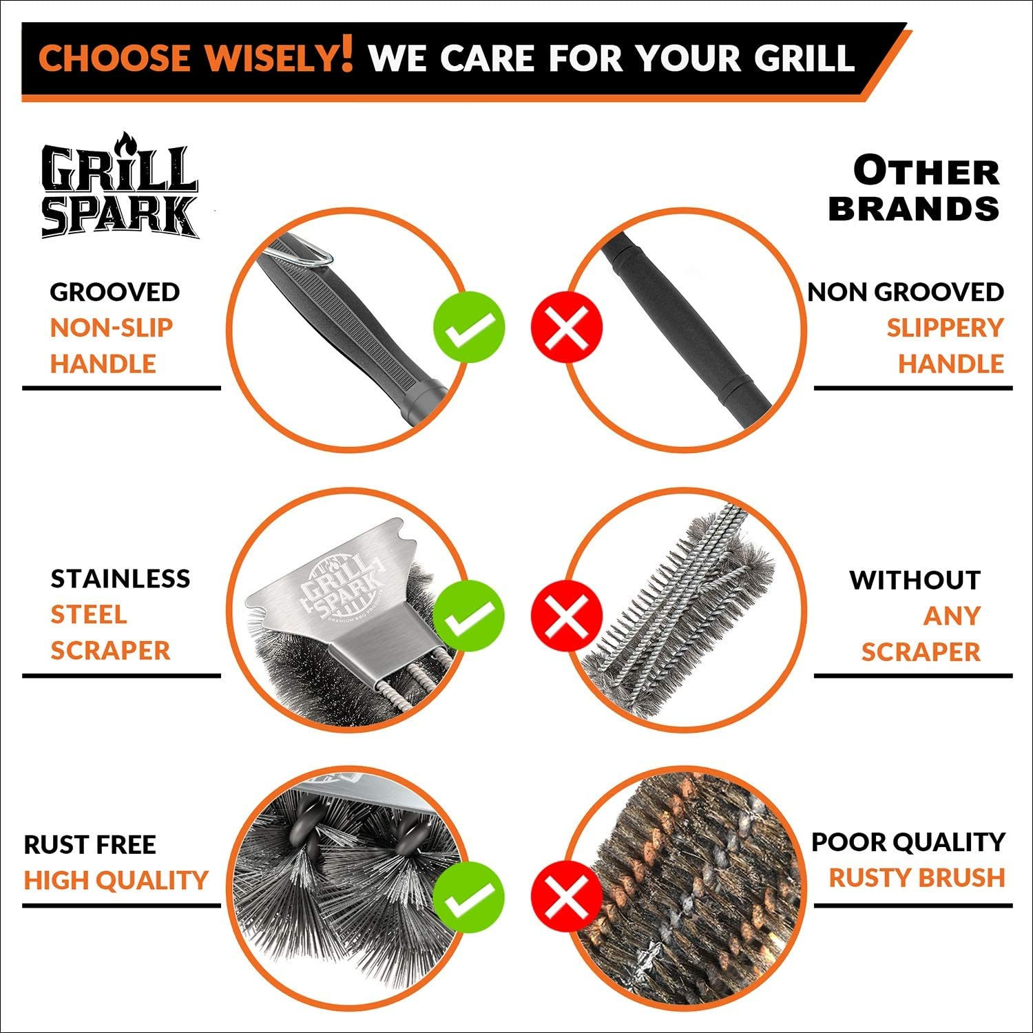 Grill Spark Grill Brush and Scraper 18 Inch BBQ Grill Accessories Stainless Steel Wire Bristles Brush Barbecue Cleaning Brush for Weber Gas//Charcoal Grilling Grates