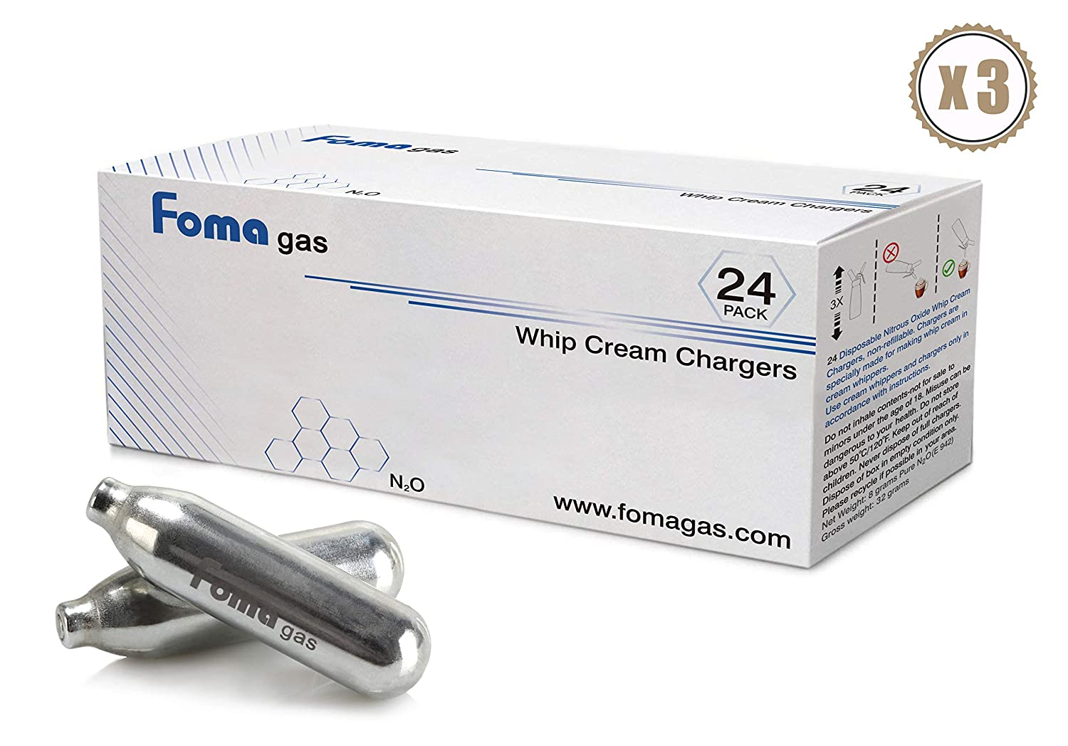Foma Gas Pure Food Grade whipped cream chargers N2O Whip Cream Chargers (72 packs)