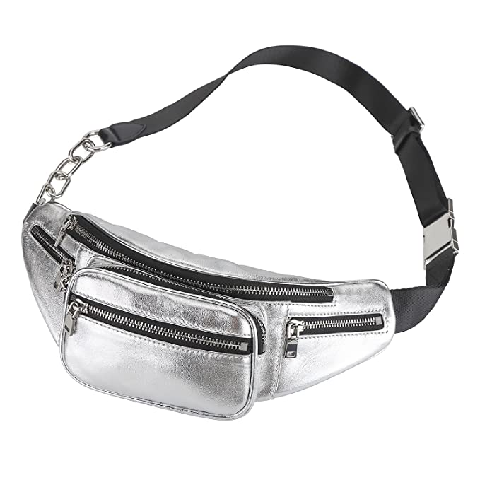 82f8621d1beaf Womens Leather Fanny Pack Adjustable Black Stylish Waist Pouch Bag (Silver)