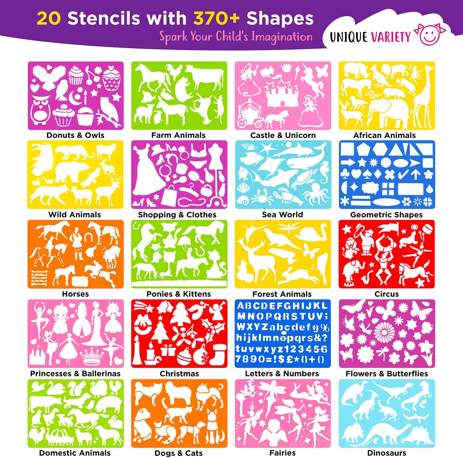 Mimtom Drawing Stencils for Kids and Girls Unicorn DIY Arts and Crafts Toy Set with Butterfly and Animal Stencils 58 PC Stencil Kit with 370+ Shapes to Draw Princess Fantasy Stories Flower