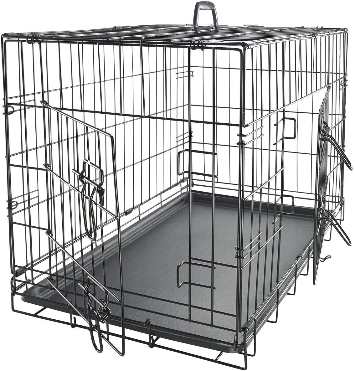 Paws Pals Dog Crate Double-Door Folding Metal – Wire Pet Cage w Divider Tray for Training Pet Supplies Accessories – 2020 Newly Designed Model