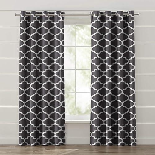 FBTS Basic Window Curtain 2 Panels 50 Blackout 52×102 Inch Dark Grey Color Window Drapes