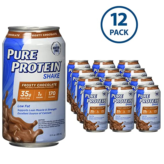 Pure Protein 325 ml Shake - 35 g of Protein - 12 RTD (Frosty Chocolate) Sports Supplements at amazon