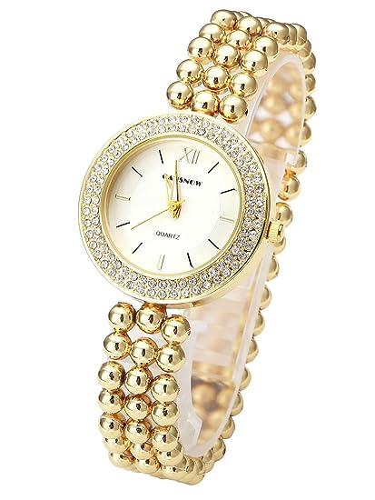 jsdde Relojes, Elegante Mujer Reloj de Pulsera con Brillantes Mujer Reloj Banda de Tres eihig Perlas Analog qaurz Reloj Reloj Maduro Pulsera, Oro + Blanco: ...