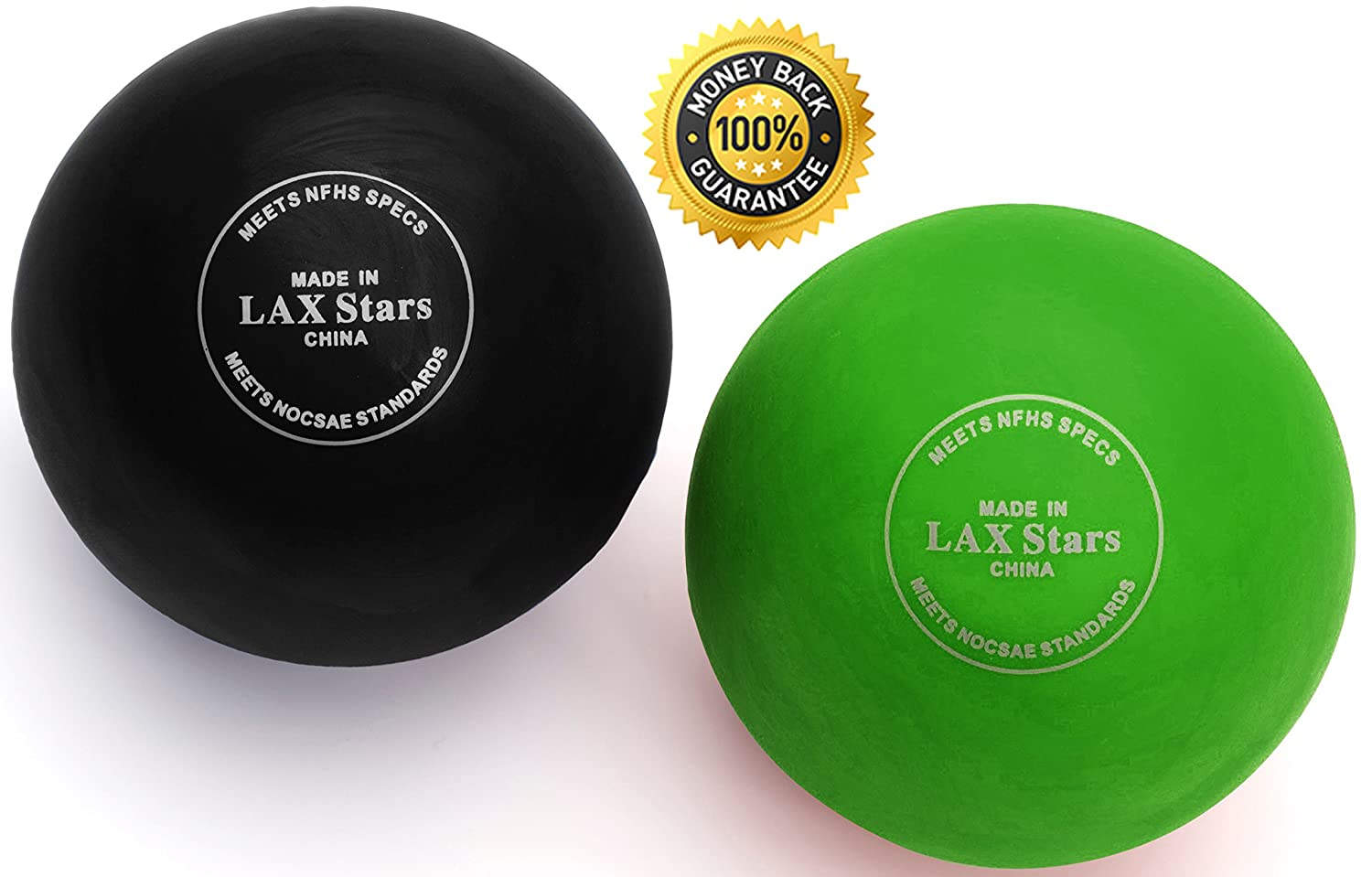LAX Stars Lacrosse Balls Massage Ball Therapy - Myofascial Tension Release, Fascia Release, Massage Balls for Foot, Massage Balls for Back, Trigger Point Therapy Balls, Yoga, Pack of 2 Balls