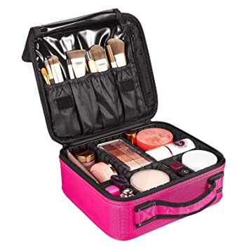 3bcad6f0a04b Travel Makeup Train Case, SOLOFISH Travel Cosmetic Bags Professional Large  Make Up Bag for Women Makeup Bag Organiser with Adjustable Dividers (Rose  ...