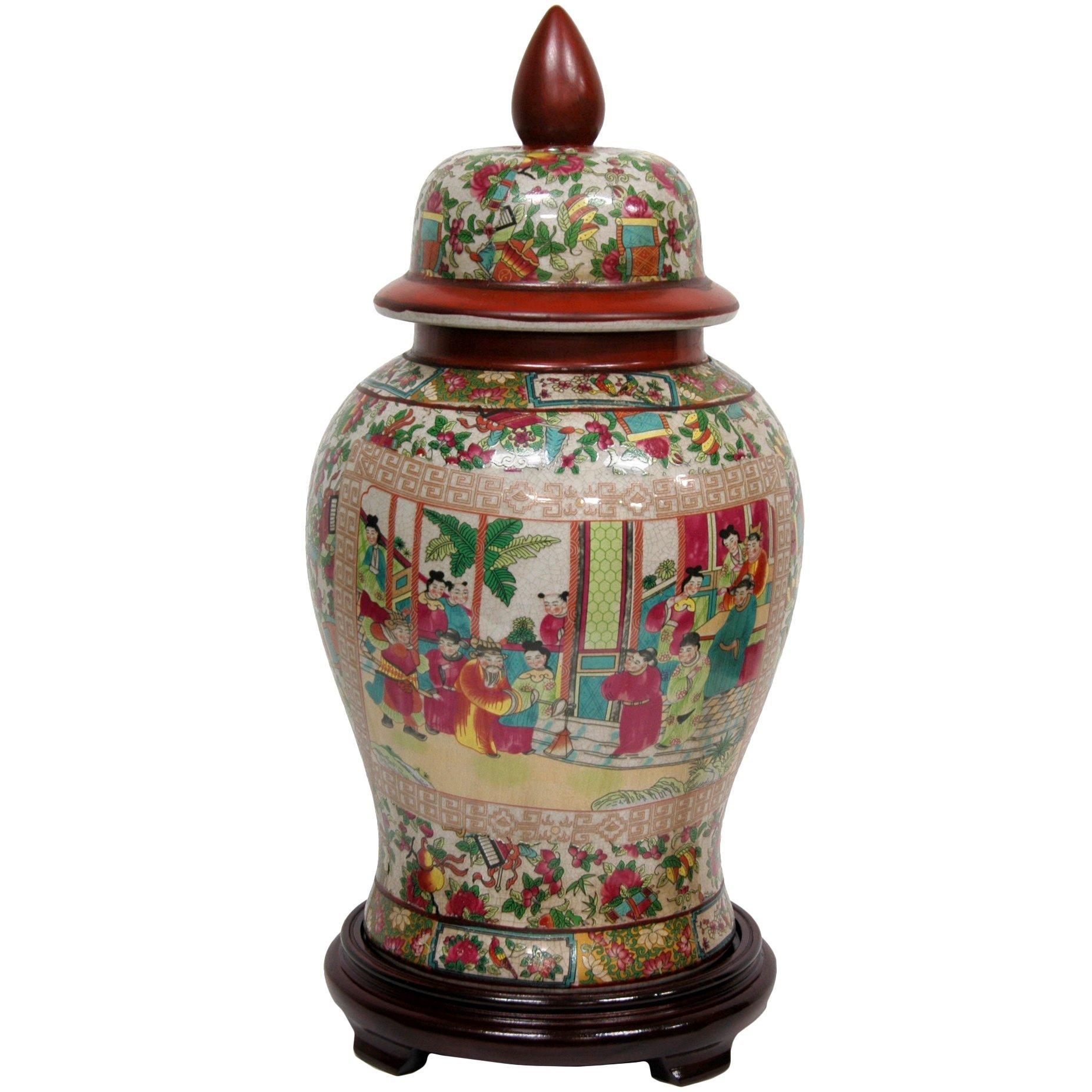 Oriental Furniture 18'' Rose Medallion Porcelain Temple Jar