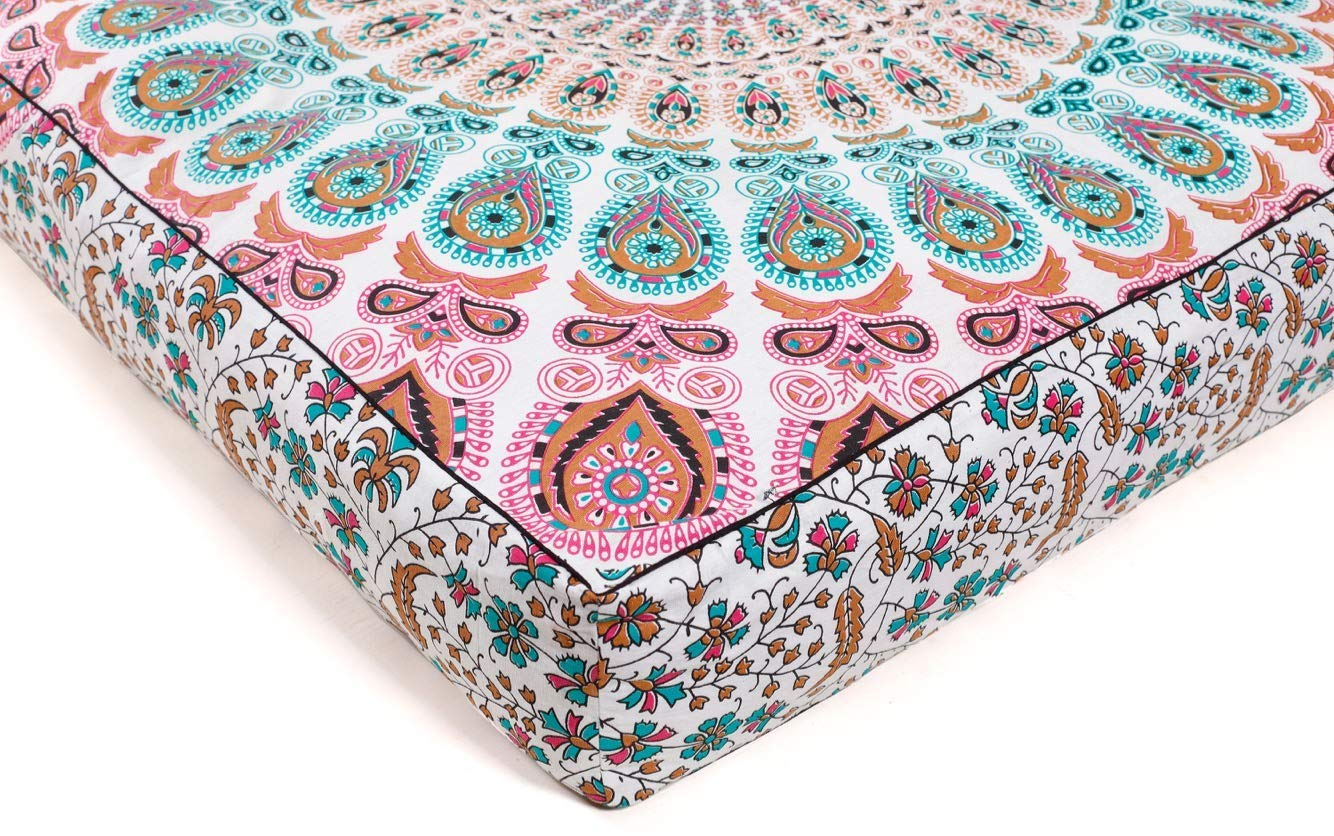 Indian Mandala Floor Pillow Cover Square Ottoman Pouf Cover Hippie Daybed Oversized Cotton Cushion Cover with Heavy Duty Zipper Seating Ottoman Poufs Dog-Pets Bed 35'' by Hemsi-77