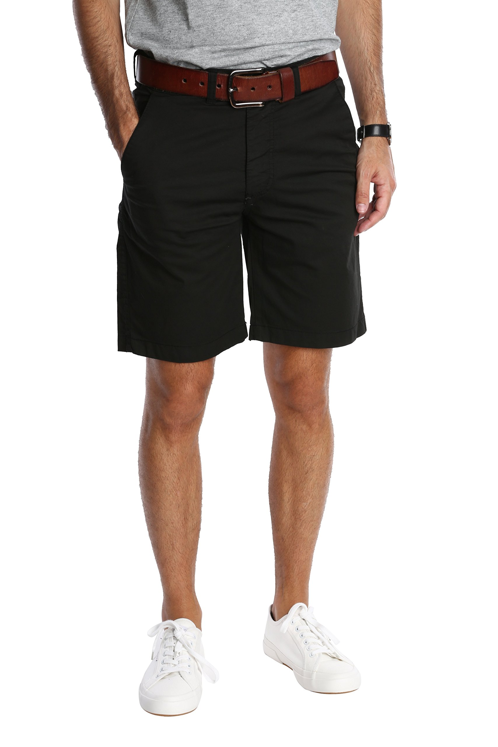 Pembrook Men's Casual Shorts n Shorts - 34 Black - Flat Front Classic Fit by Pembrook