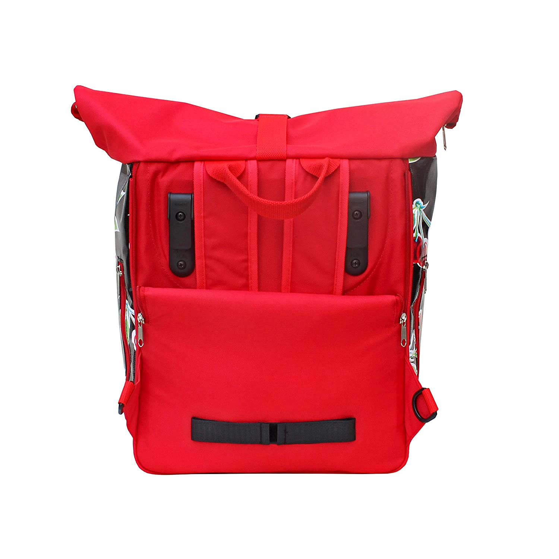 Backpack Waterproof For Woman Rolltop Bike Bag Pannier Oilcloth Cherries Pattern Design Cerezas black IKURI KOMBI Bicycle Bag