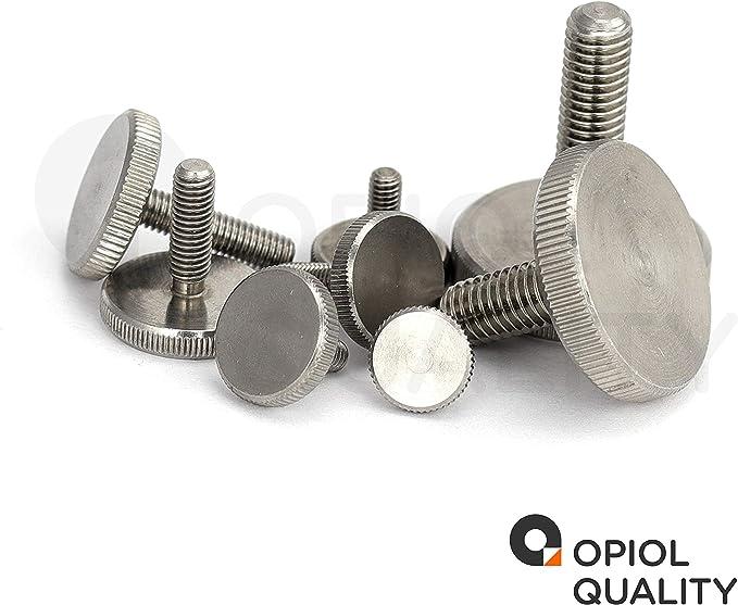 OPIOL QUALITY /Écrous molet/és /à faible forme DIN 467 en acier inoxydable A1 /écrous molet/és forme plate lot de 10