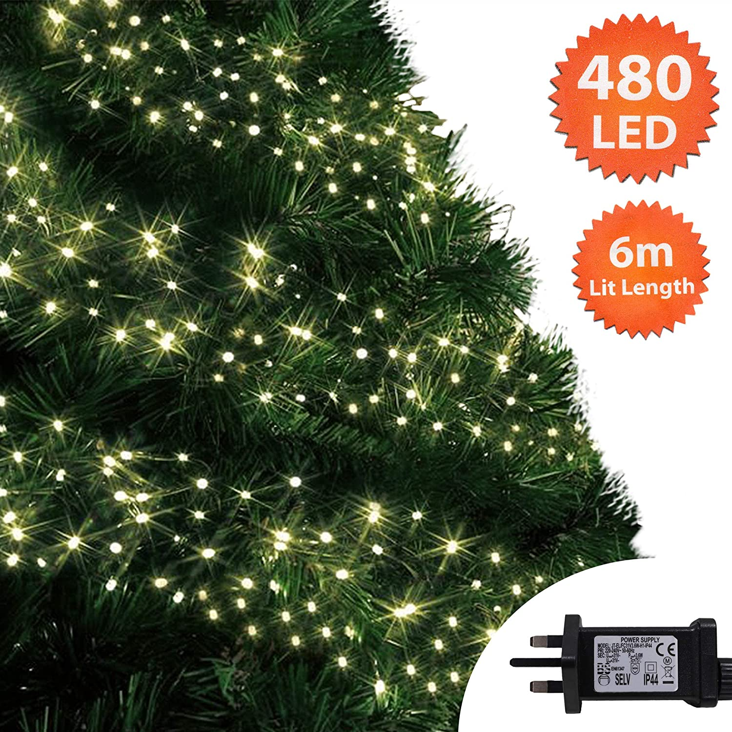 Christmas Tree Lights.Christmas Lights 480 Led 6m Warm White Outdoor Cluster Tree Lights String Indoor Fairy Lights Memory Timer Mains Powered 19ft Lit Length10m 32ft