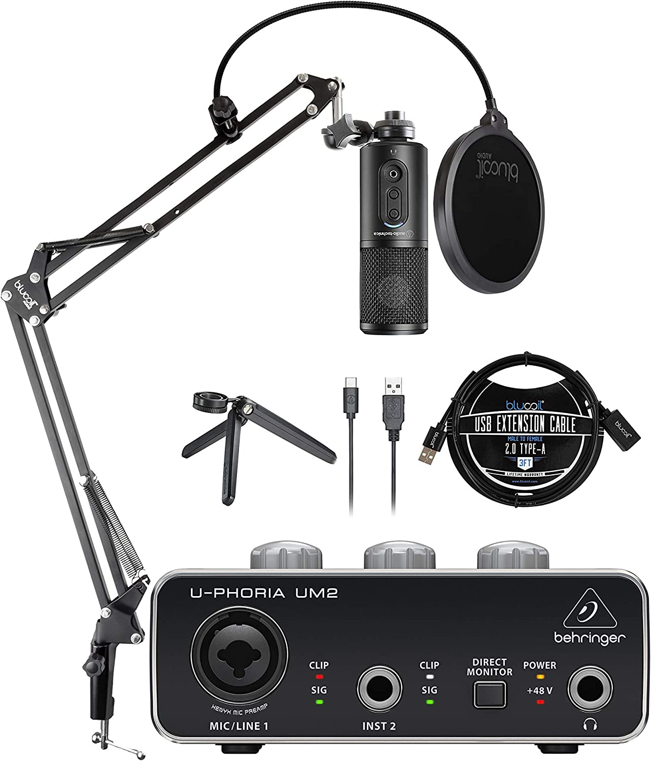 Audio-Technica ATR2500x-USB Condenser Microphone for Home Recording Bundle with U-PHORIA UM2 USB Audio Interface for Windows and Mac, Blucoil Boom Arm Plus Pop Filter, and 3' USB Extension Cable