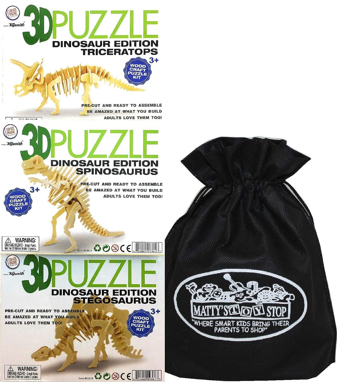Toysmith 3D Dinosaur Wood Puzzle Kits Stegosaurus Triceratops /& Spinosaurus Gift Set Bundle with Bonus Mattys Toy Stop Storage Bag 3 Pack