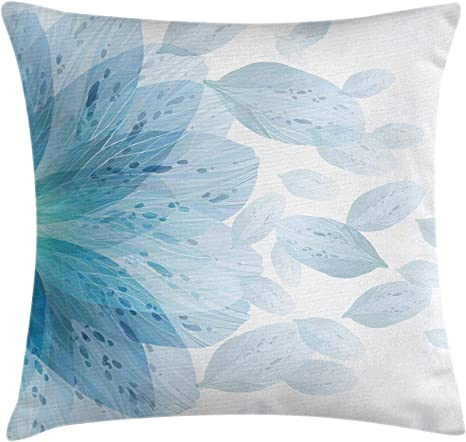 Amazon Com Ambesonne Floral Throw Pillow Cushion Cover Round Pattern Of Blue Flower Petals Spring Season Nature Theme Artwork Decorative Square Accent Pillow Case 16 X 16 Blue White Home Kitchen