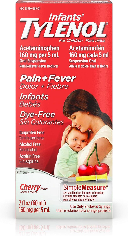 Infants' Tylenol Liquid Medicine with Acetaminophen, Pain + Fever Relief, Dye-Free Cherry, 2 fl. oz