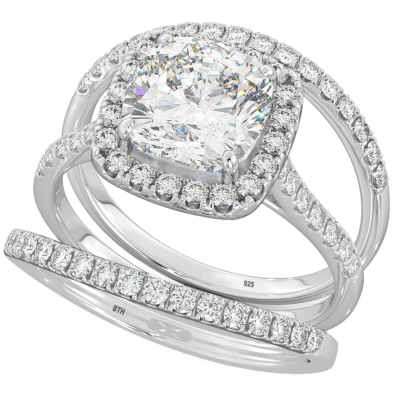 CZ Wedding Ring Sterling Silver Cushion Cut Halo Triple Band