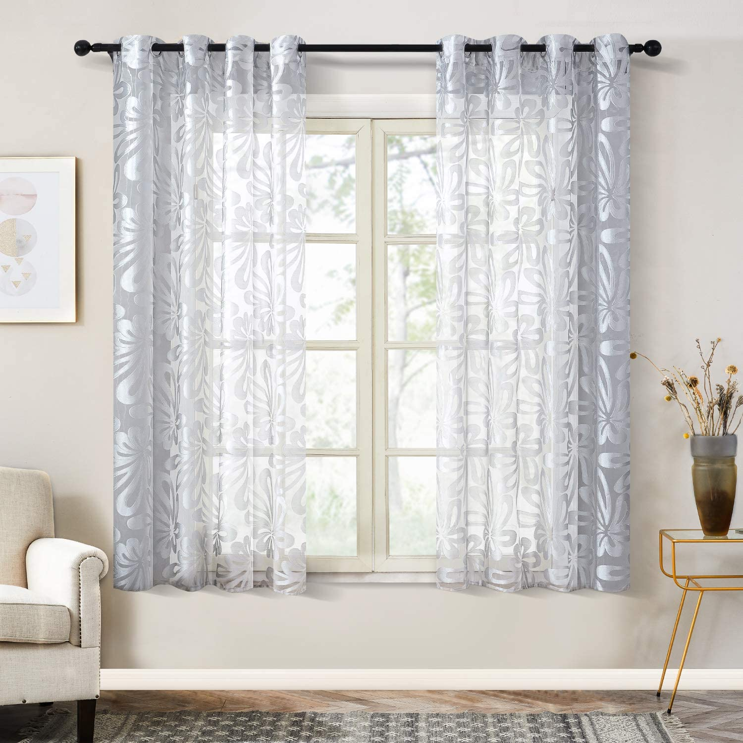 Top Finel Floral Sheer Curtains 63 Inch Length for Living Room Bedroom Grommet Voile Window Curtains, 2 Panels, Grey