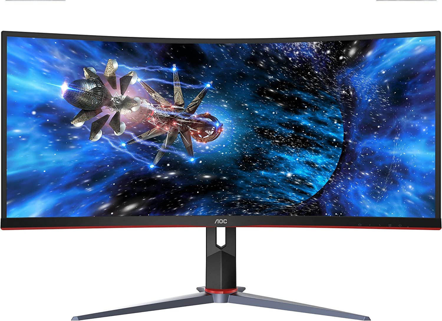 "AOC CU34G2X 34"" Curved Frameless Immersive Gaming Monitor, UltraWide QHD 3440x1440, VA Panel, 1ms 144Hz Freesync, Height Adjustable, 3-Yr Zero Dead Pixels"