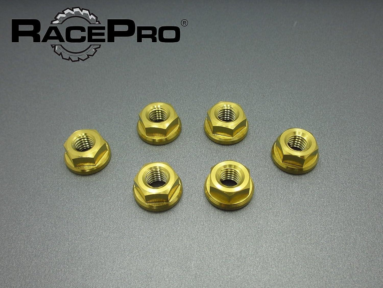 RacePro - 6x M12 x 1.5 Oro Solex Gr5 Titanio Brida Las Tuercass Piñón Fino.