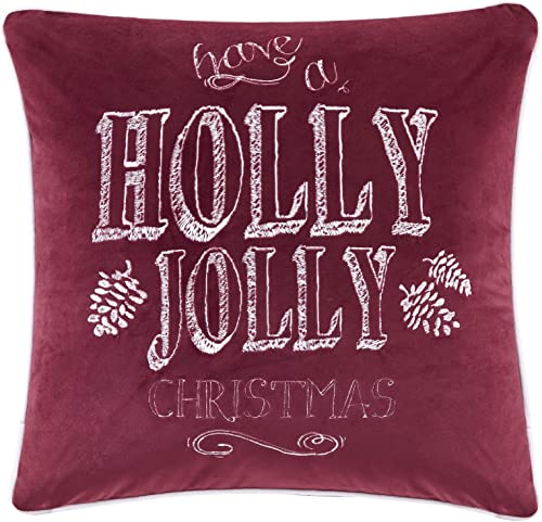 Madison Park Holiday Theme Decorative Throw Square Oblong Pillow with 100 Polyester Filling for Bed Couch or Sofa, 20×20, Holly Jolly Red