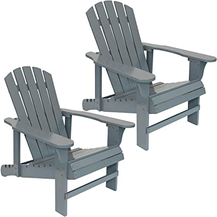 Astounding Sunnydaze Wooden Outdoor Adirondack Chair With Adjustable Backrest 250 Pound Capacity Set Of 2 Gray Gamerscity Chair Design For Home Gamerscityorg