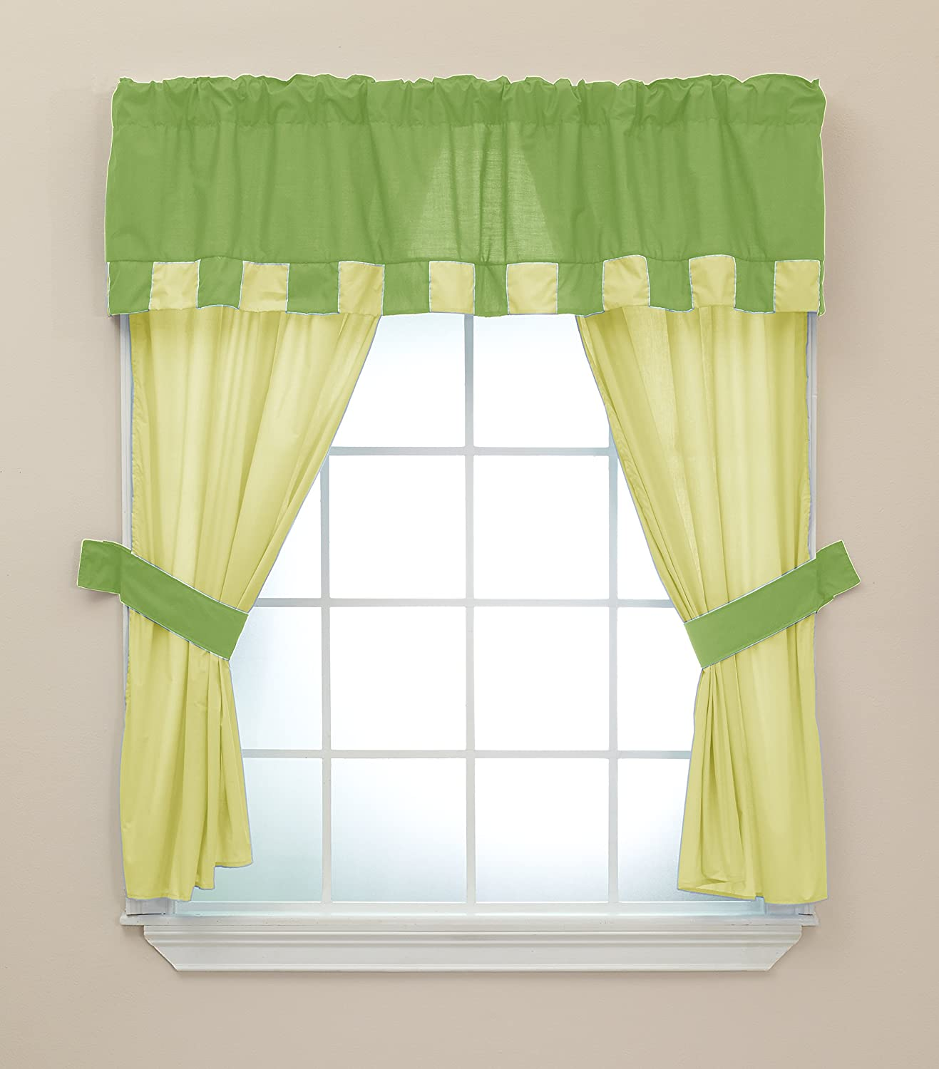 Apple//Yellow 5 Piece Baby Doll Bedding Patchwork Perfection Window Valance and Curtain Set