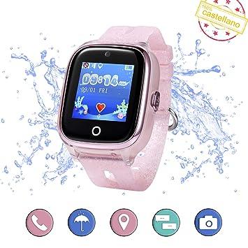 Smartwatch para niños con localizador GPS, Llamadas y cámara de Fotos. Reloj Inteligente acuático con IP67 para niños de 3 a 13 años (Rosa)