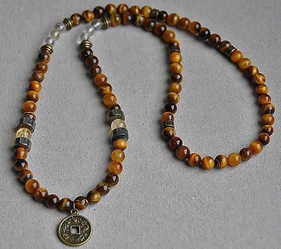 e8dfce83d9a26 Success Prosperity,Lucky Coin Tiger's Eye Necklace, Citrine Men  Necklace,Pyrite Mens Gemstone Necklace,Buddhist Necklace, Mala Necklace,