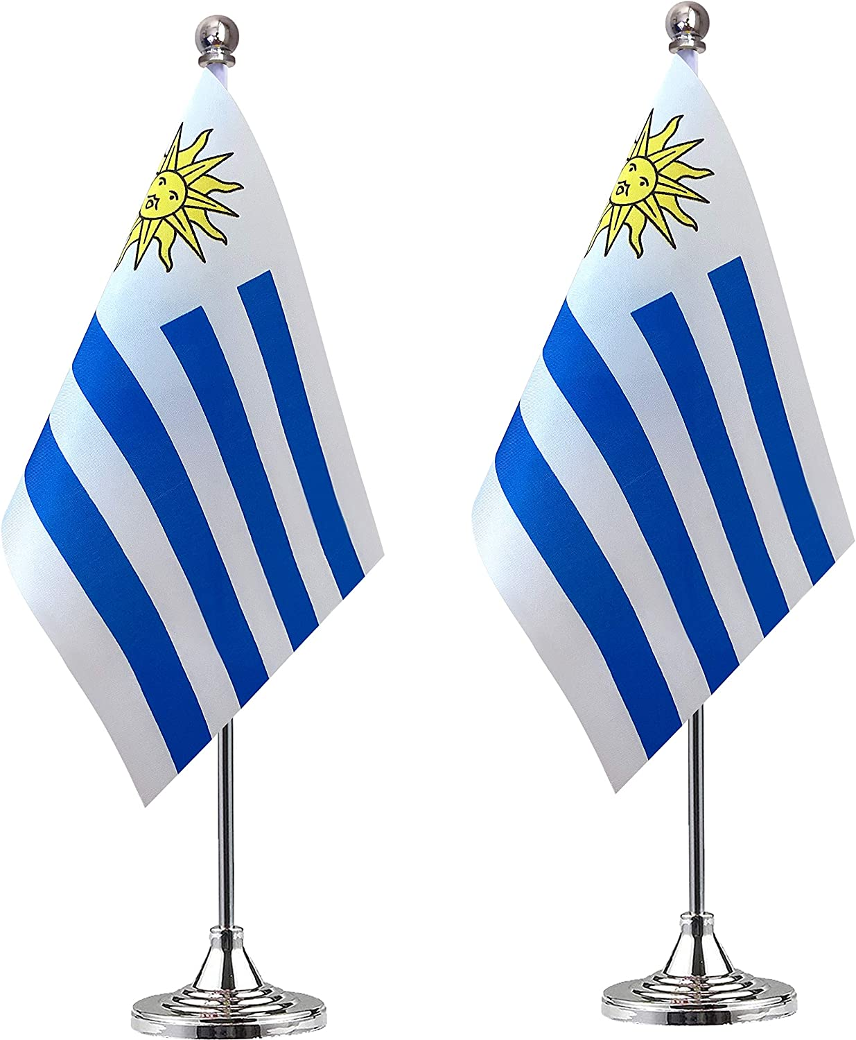 WEITBF Uruguay Desk Flag Small Mini Uruguayan Office Table Flag with Stand Base Decorations,2 Pack