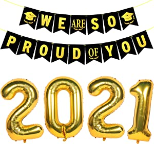 Graduation Decorations 2021 Class of 2021 Decorations Gold Glittery We are So Proud of You Banner Gold 2021 Number Foil Mylar Balloons Set for Outdoor Indoor Wall Yard Decor Graduation Party Supplies