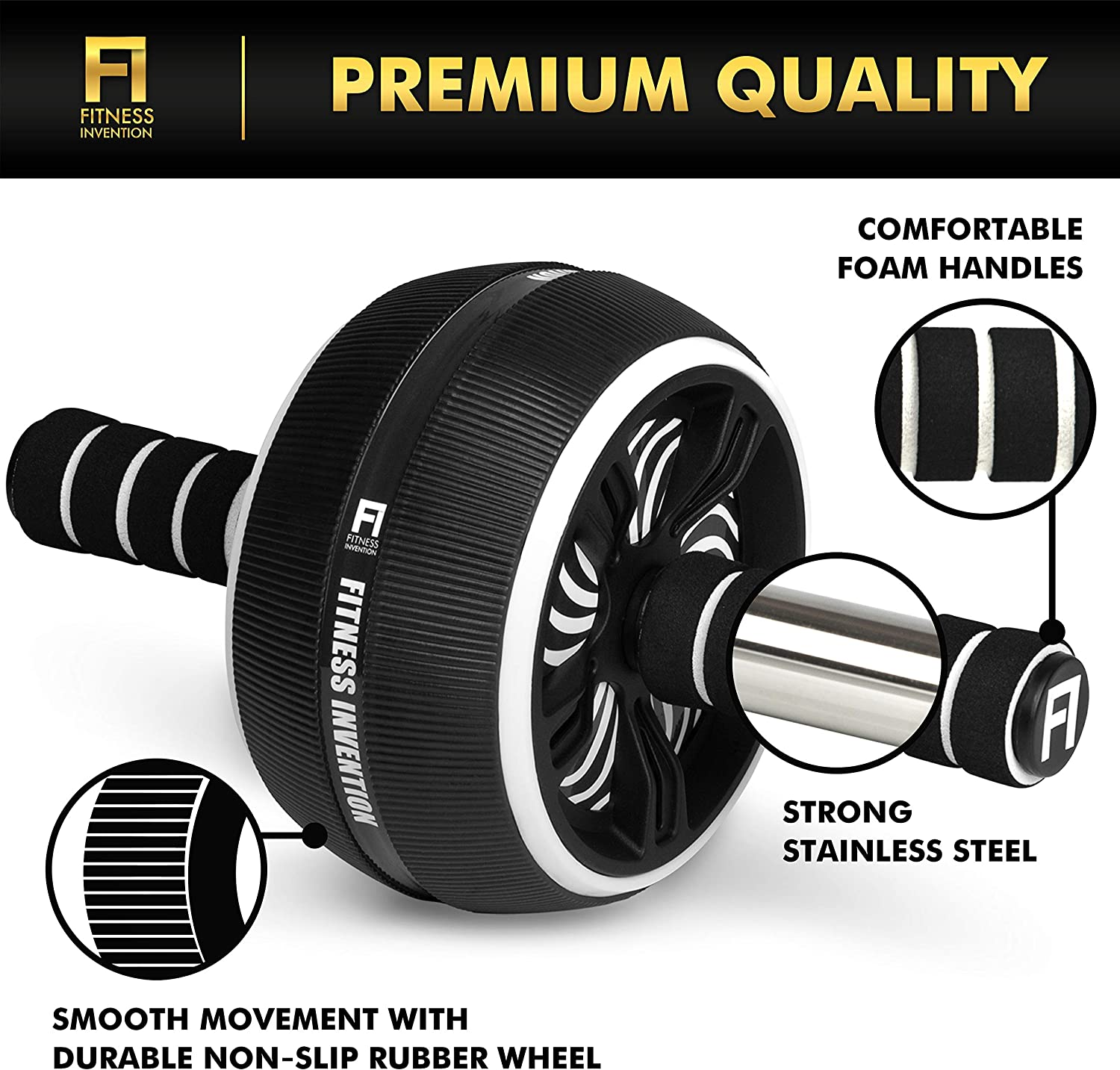 Fitness Invention Ab Roller Wheel – 3-IN-1 AB Wheel Roller with Knee Mat and Jump Rope – Ab Roller Wheel for Abdominal Exercise – AB Workout – Home Workout Equipment – Abs Wheel Roller – Abs Roller