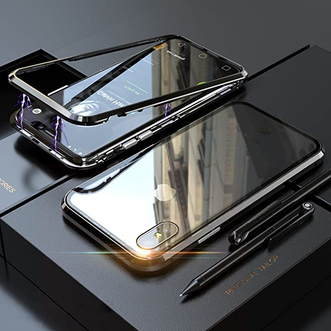 new style fd381 70214 Amazon.com: Magnetic Adsorption Metal Bumper,Case For iPhone X 8 7 ...