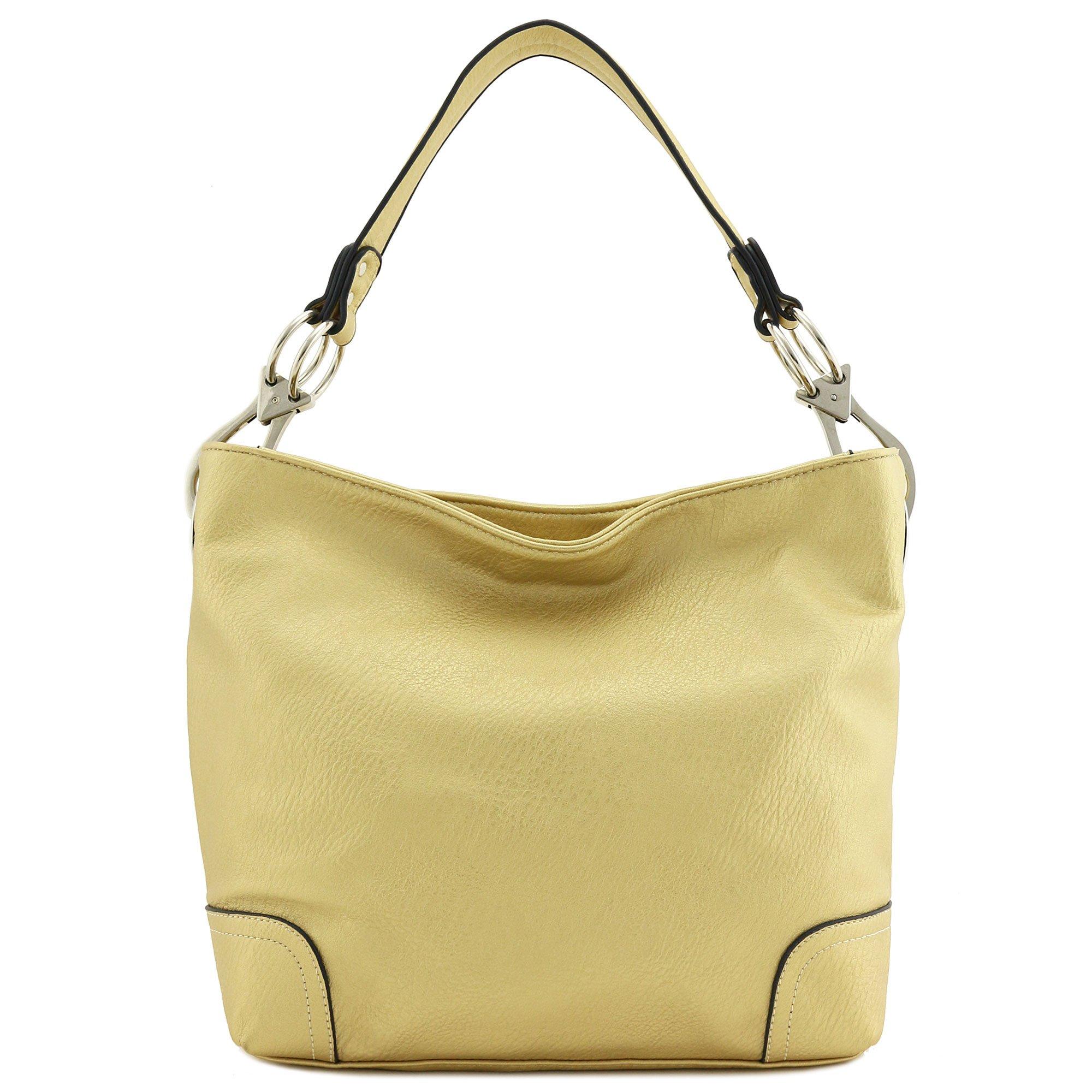Hobo Shoulder Bag with Big Snap Hook Hardware (Gold) by Alyssa (Image #2)