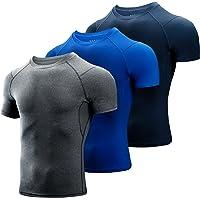 Niksa 3 Piezas Camiseta Compresión Hombre,Deportiva para Hombre Amiseta de Manga Corta Camiseta Entrenamiento Hombre…