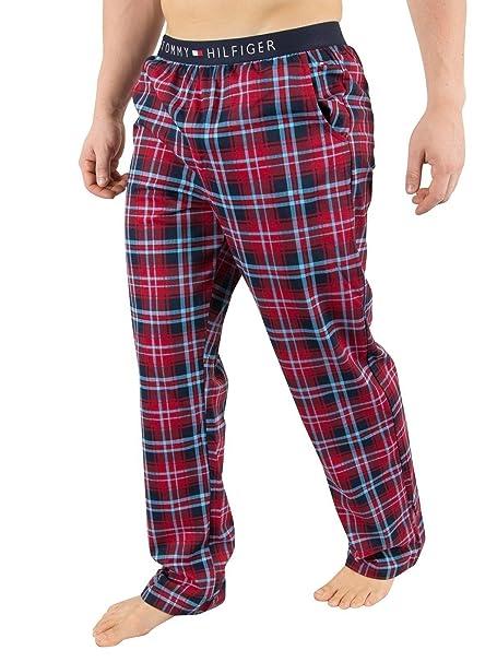 Tommy Hilfiger Hombre Pantalones de Pijama con Estampado de Jersey, Rojo, X-Large