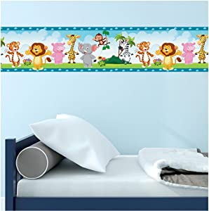 Malkan Signs Zoo Animals Wall Border Décor Decal - for Kids' Bedrooms Playrooms, Easy to Apply Peel and Stick, 16.4 feet Long, 5.1 inches Wide