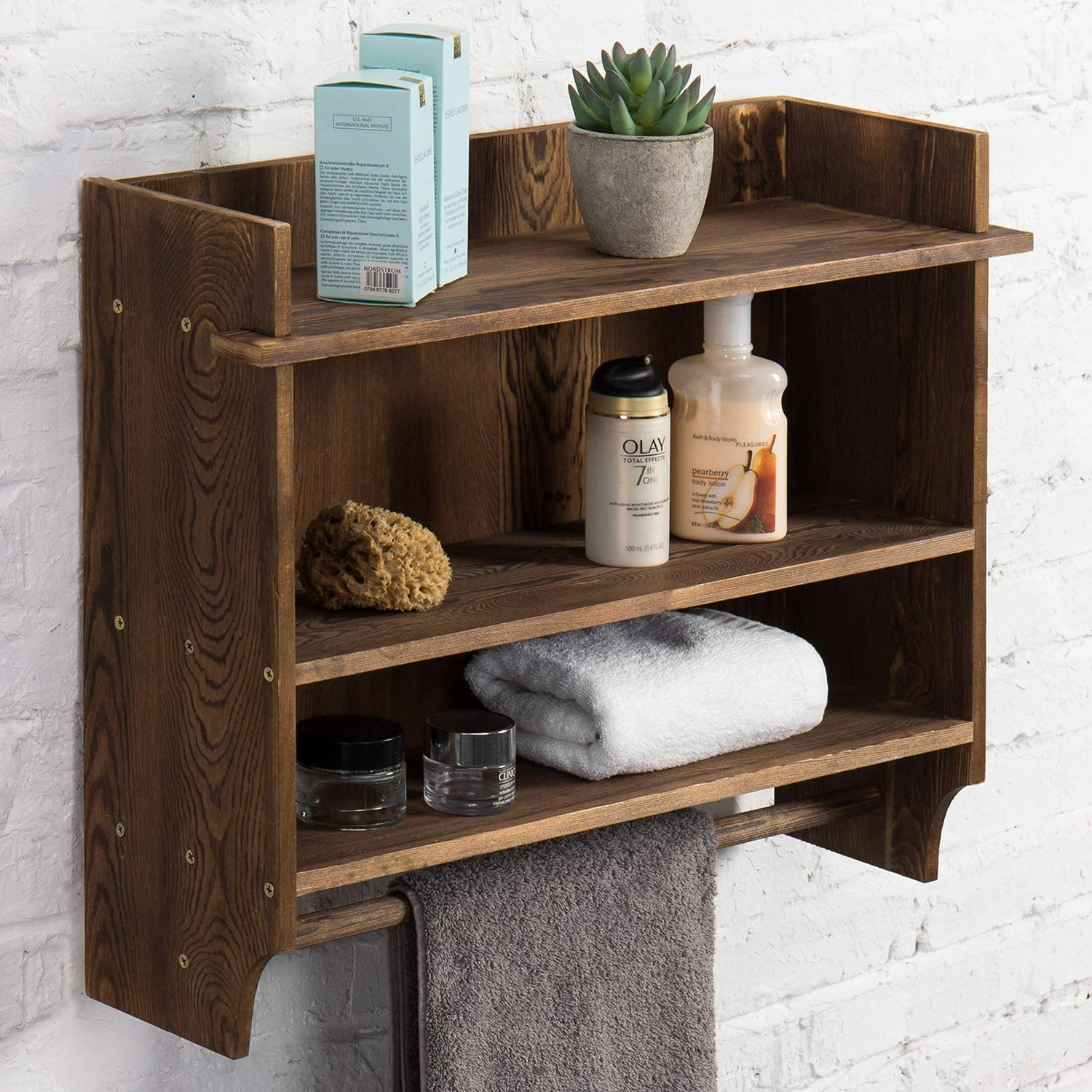 Amazon Com Mygift 3 Tier Wall Mounted Wood Bathroom Shelves With Hanging Towel Bar Home Kitchen