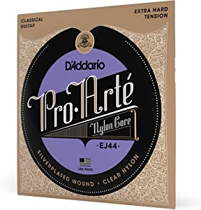 D'Addario EJ44 Pro-Arte Nylon Classical Guitar Strings, Extra-Hard Tension– Nylon Core Basses, Laser Selected Trebles - Offers Balance of Volume and Comfortable Resistance