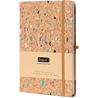 Dot Grid Paper Notebooks and Journals ,Writing Journal with Pen loop,Dot Journal A5,Hard Cover Writing Notebook with Paper Pocket,8.5x 5.8IN,Wood Color, Premium Thick Paper 192 Pages for Writing