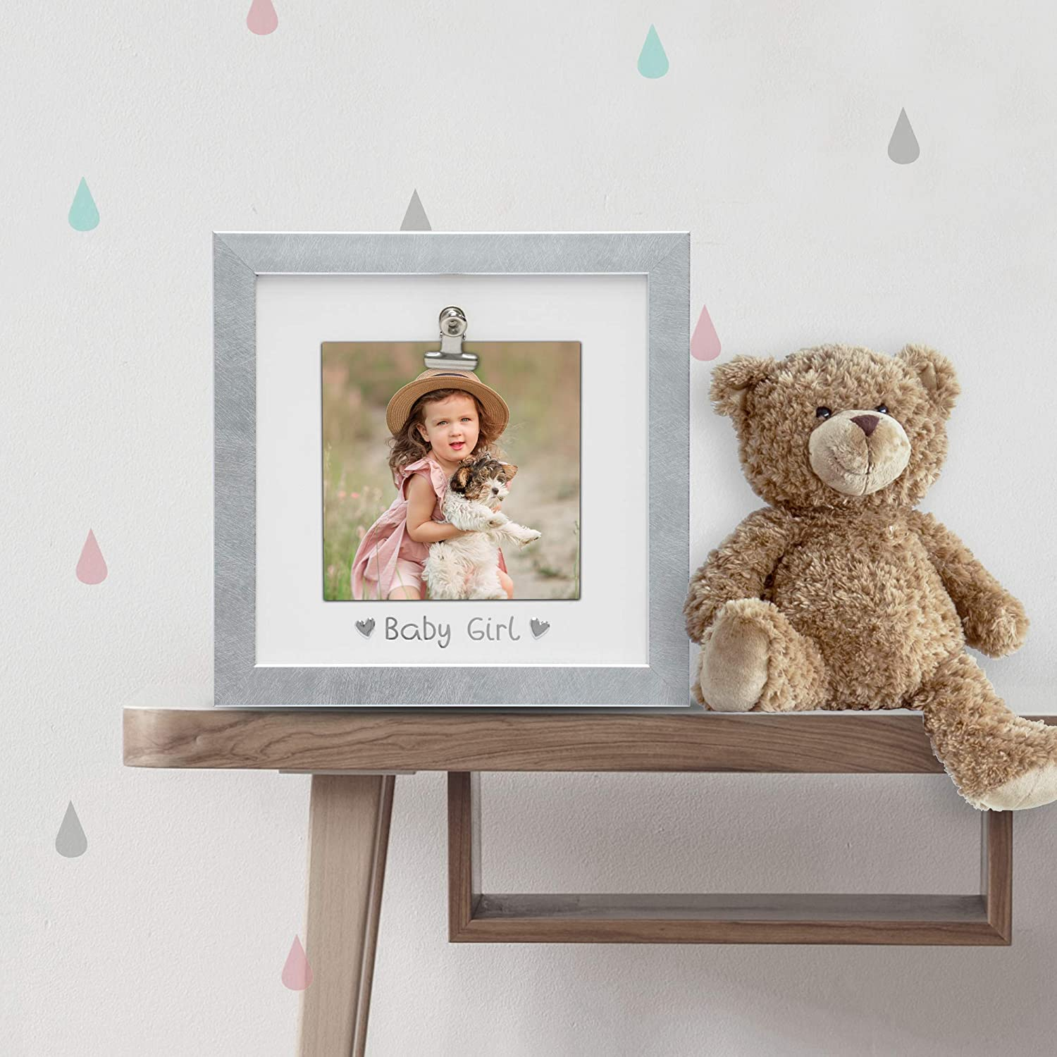 MIMOSA MOMENTS Baby Girl Clip Picture Frame Wood Finish in Gray 6x4, Gray-Baby Girl