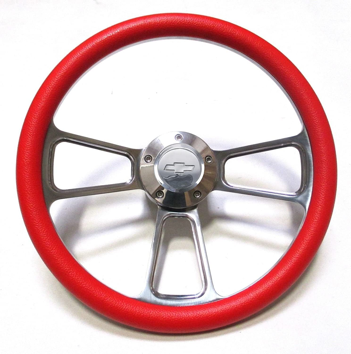 Red Steering Wheel 14 Billet Muscle Style Wheel with Chevy Bowtie Horn Button