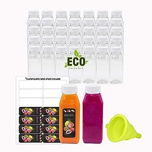 8 Oz Empty Eco Friendly PET Plastic Juice Bottles - Pack of 35 Reusable Clear Disposable Milk Bulk Containers with White Tamper Evident Caps Lids